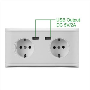 Europe Type Wall Socket Dual USB Socket Safety Certification Approved USB Output 2.1A Double Way Gernman Standard Socket