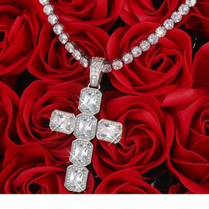 Mens Women's Gold Silver Color CZ Zircon Iced Hip Hop Cross Pendant With 4mm 16 18 20 24 Inches Tennis Chain Choker Necklace Set