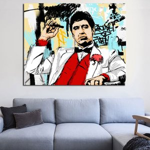 Tony Montana clássico minimalista Filme Pose Wall Art Canvas Poster Printed Canvas Oil Painting Imagem decorativa Quarto Home Decor