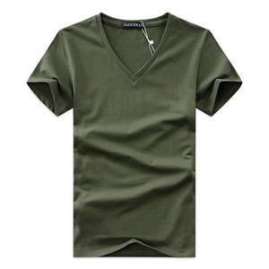 2019 Verão Mens Com Decote Em V T Camisa Mais Recente Algodão Tee Sólida Moda T-Shirt Casual de Manga Curta Slim Fit TOP Camisa para Vendas Por Atacado