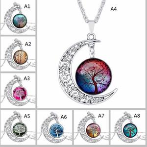 Cabochon Glas Mond Halsketten für Frauen-Mann-Baum des Lebens Sternzeichen Blume Wolf-Nebel-Raum-Galaxie-Anhänger Ketten Schmuck GB1182