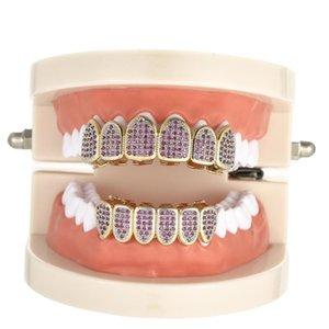Lila CZ Micro Pave Oben Unten Benutzerdefinierte Grillz Set Rhodium Teeth Grills