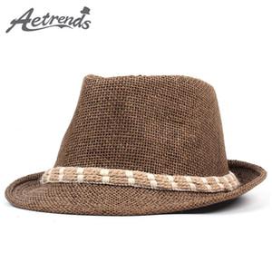 [AETRENDS] 2018 New Strohsun Hüte Jazz-Kappe Männer Frauen Klassisch Panama Caps Derby Bowler Fedoras Hat Z-6329
