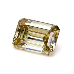 6.5x5mm emerald cut lab grown yellow color high quality 1ct loose moissanite diamond rough for jewelry making