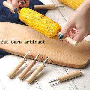 8PCS maïs Brochette de maïs en acier inoxydable Forks Épi Brochettes Barbecue Fournitures BBQ Forks fruits extérieur