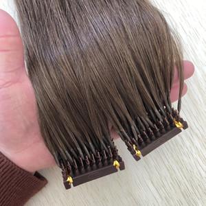 더블 그린 6d 머리 확장 0.5 그램 / 가닥 200 가닥 / 많은 라이트 브라운 # 6 컬러 6D 인간의 머리 확장 공장 공급