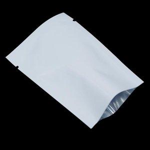 أبيض 100 حقائب قطع المفتوحة الأعلى مايلر احباط المسيل للدموع الشقوق الألومنيوم احباط الحقيبة لتخزين المواد الغذائية والتوابل وجبة خفيفة كاندي فراغ حرارة الختم الحزم عينة