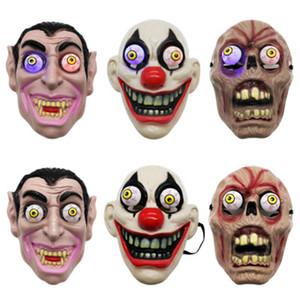 LED-Licht Halloween Horror Maske für Clown Vampir-Augen-Schablonen Cosplay Thema Make-up Leistung Masquerade Full Face Mask Partei ZZA1144
