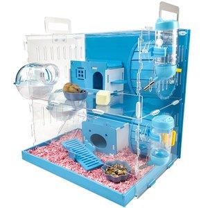 Cage hamster acrylique transparent Golden Bear Big Villa Double-couche Nest Hedgehog Supplies complète cochon Guinée Paquet