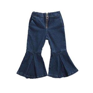 Pudcoco Summer Infant ребёнки отблеск Брюки для девочек джинсы Denim высокой талией Zipper Flare Длинные брюки Мода Дети Нижнее 1-6Y