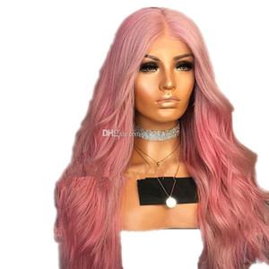 Frente del cordón peluca de color rosa sin cola ondulada larga sintética resistente al calor de fibra sintética de pelo rosa lacefront barato pelucas para las mujeres