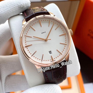 New 40mm Patrimony 85180 000R-9248 Mens Asian Automatic Watch 85180 White Dial Rose Gold Case Leather Strap Sport Watches Hello_watch 4Color