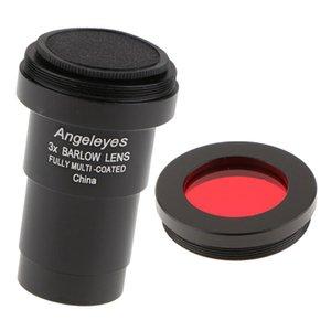Filme de linha de polegada de lente para banana larga multi-revestida Barlow M42 3X Telescópio Telescópio Filtro de cor (vermelho) 1.25 Astronomia Fotografia Affes XUPU
