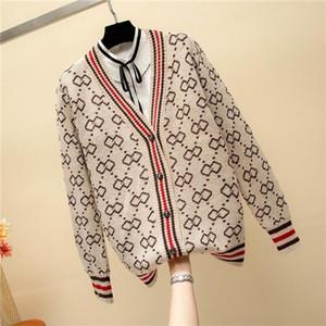 En automne hiver vente bouton féminin dame col V à manches longues Cardigan femme chandails tricotés Oversize korean