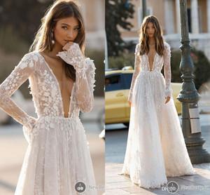 2019 Berta elegante Vestidos de novia Sexy Cuello en V profundo Sin espalda 3D Flora Apliques de encaje Playa de manga larga Vestido de novia de playa por encargo