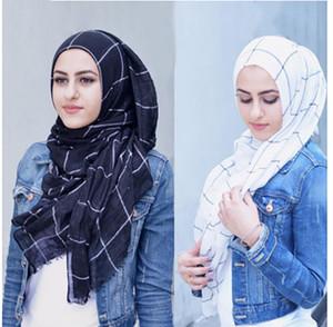 Clásico de las telas escocesas del tartán de algodón gasa Hijab musulmán de la bufanda larga de las señoras de la Cruz rayas de color doble Hijabs islámico abrigo del mantón de la bufanda