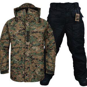 """Yeni Sürümü """"Southplay"""" Kış Isınma Su geçirmez Skiing- Snowboard (Deniz Askeri Ceket + Siyah Pantolon) T190920 ayarlar"""
