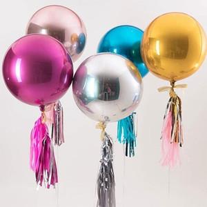 22 4D Plata pulgadas de oro rosa Esfera redonda grande en forma de ducha hoja hincha bebé fiesta de cumpleaños para matrimonio Air Ball