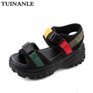 TUINANLE Sandales Plateforme Femmes 2020 Black Fashion Mesh Ladies Chunky sandales d'été Bracelet Boucle Compensées Chaussures Sandalias Mujer
