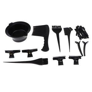 23pcs plastique Hair Dye Outils Coloration Kit- Salon Couleur des cheveux Tint Jatte Brosse peigne Clips Set noir