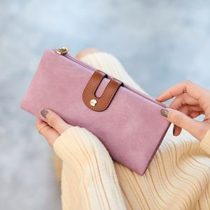 New Women Long PU Leather Wallet with Credit Card Holders Money Organizer Zipper Purse Wristlet Handbag