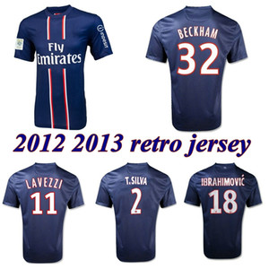 2012 2013 İbrahimoviç Beckham Retro futbol forması 12 13 Pastore Lavezzi MENEZ T.SILVA Matuidi Verratti bağbozumu klasik futbol forması