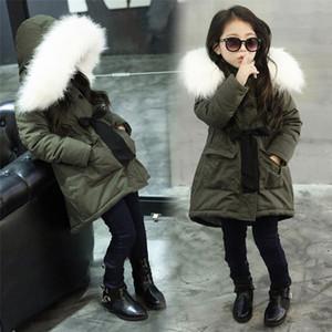 enfants de détail anoraks filles vert coton rembourré Veste à capuche outwear vêtements grands cols en laine et un épaississement de velours manteau enfants
