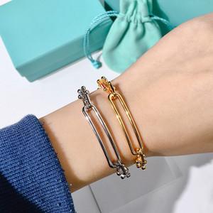 Trendy suavizar nu cadeia de bambu nó U em forma de pulseira cadeia do punk neutralstyle casal simples subiu braceletbangle de prata de ouro para a mulher
