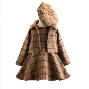 2019 New Fashion 3 Pieces Baby Girls Clothing Set Coat Ball Gown Dress Hat Spring Winter Fashion Children Costume Plaid Clothing J190712