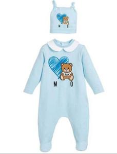 2020 Nuovo infantile del fumetto del pagliaccetto Alto modo bambino orso Stampato a maniche lunghe tuta Carino neonato Tutina Casual