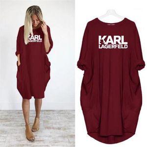 Designer Casual Vestidos Carta Imprimir Lagerfeld cor sólida meia manga Feminino Vestuário Puls Tamanho Moda Casual Womens Verão Karl Vestuário