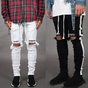Yeni Moda Erkek Jean Pantalones Sokak Siyah Delik Tasarımcı Beyaz Çizgili Kot Hiphop Kaykay Kalem Pantolon