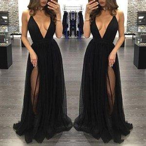 높은 사이드 분할 얇은 명주 그물 댄스 파티 드레스 블랙 섹시한 깊은 V 넥 긴 여성 스커트 정장 파티 이브닝 가운 Vestidos 드 baile