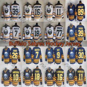 Buffalo jerseys Vintage 9 ROY 89 Mogilny 39 HASEK 11 PERREAULT 16 LAFONTAINE 18 GARE 7 MARTIN CCM hockey Jersey
