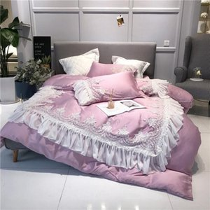 36Pink Romantic Princess Style Ready Thaily 80 Fine Tencel Bedding Set Duvet Cover Bed Lanen Bed sheet Pillows