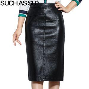 Wie su novo 2018 outono de alta qualidade mulheres inverno lápis preto cauda de couro pu saias sa-5xl das mulheres mid-long saias y19071301