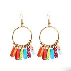 Fashion Colorful Natural Stone Dangle Earring For Women Bohemian Creative Big Circle Earrings Summer Beach Jewelry
