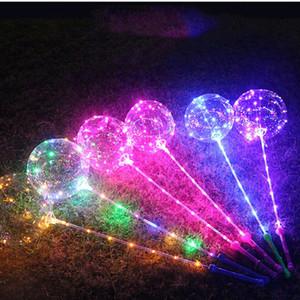 LED Leucht Bobo Ballon Blitzen leuchten Transparente Luftballons 3M-Schnur-Licht mit Handgriff-Ballon für Hochzeit Festival Dekors DH