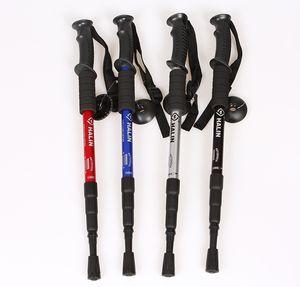 HARLEM Outdoor trekking pole cane crutches four-section straight grip trekking pole aluminum trekking pole Color optional