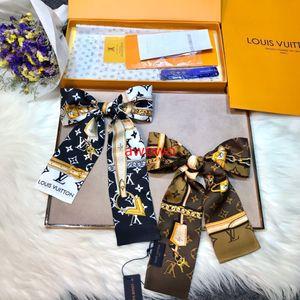 100% tout nouveau sac de cheveux ruban de soie réelle foulards pour la meilleure écharpe de style de conception de monogramme de qualité française classique de soie serre-tête sans boîte