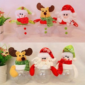 Рождество Санта Ясно Пластиковые Конфеты Сумки Подарок Хранения Бутылки Держатель Украшения Рождественские Конфеты Бункеры