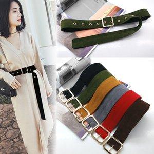 Long Velvet belt cloth dress belts female knot black waistband red gold square buckle decorate coat sweater belt waist seal tide