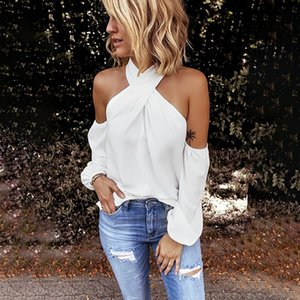 Moda Sólidos Halter Blusa Alças Casual Autumn Ladies solto inferior Tops Feminino Mulheres camisa de manga longa Blusas pulôver