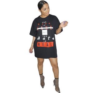 패션 문자 슬로건 인쇄 티 셔츠는 여성을위한 드레스 짧은 여름 드레스 캐주얼 느슨한 T 셔츠 의류