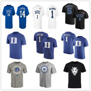 NCAA Duke Blue Devils 1 Zion Williamson мужские футболки 5 RJ Barrett 14 Ingram с коротким рукавом синий Вентиляторы Tops Tee хлопка шеи печататься