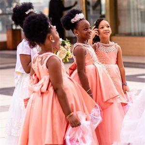 Африканский румянец Розовые платья для девочек-цветочниц на свадьбу Привет Ло Кружева Аппликация Девушки театрализованное платье с бантом створки бисером Дети день рождения