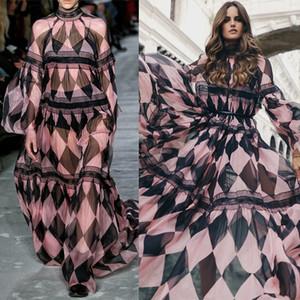 Más el tamaño de una línea vestido 2020 de primavera y verano diseñadores pista diamante gasa maxi vestido de las mujeres del cordón del remiendo largo del partido Vestidos con los marcos