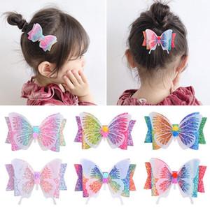 3.5 pulgadas del brillo del arco del pelo de la mariposa de las horquillas de clip para niñas Baby Kids arco iris del gradiente del color del pelo pernos accesorios Headwear Beach Party D6408