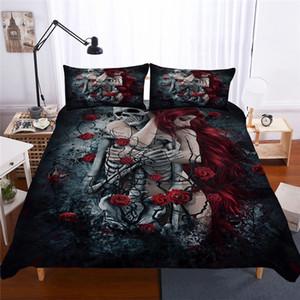 Bonenjoy Zucchero Skull Bedding Set Queen Size Flower Skull Lenzuola matrimoniale Copripiumino con federa King Size Bedding