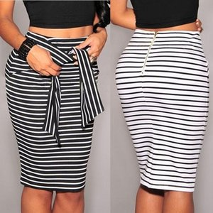 Women's striped hip high waist OM8725 Women's striped bandage hip high waist bandage skirt skirt OM8725